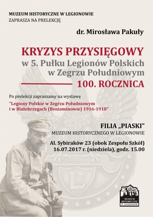 """Zaproszenie na prelekcje dotyczącą """"kryzysu przysięgowego"""" do Filii Piaski Muzeum Historycznego w Legionowie"""