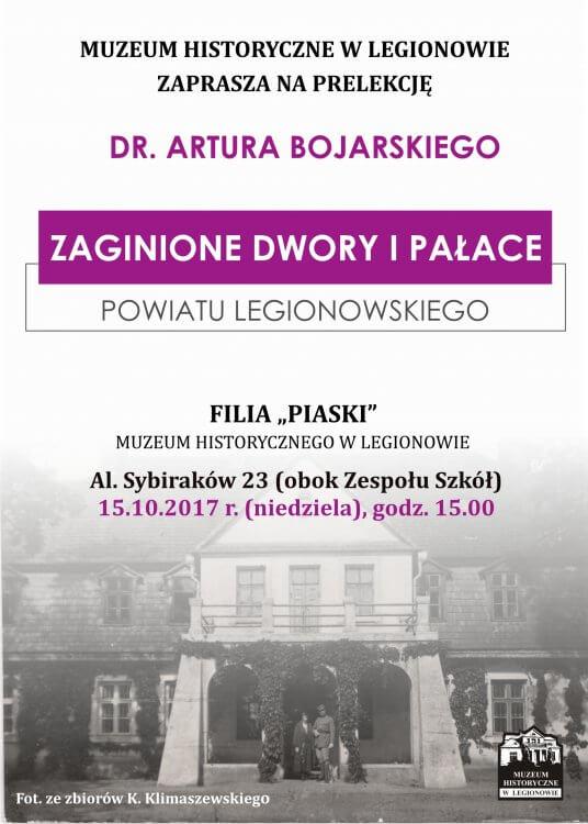 Plakat na prelekcję Zaginione dwory i pałace powiatu legionowskiego